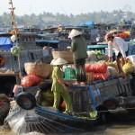 Schwimmende Märkte auf dem Mekong